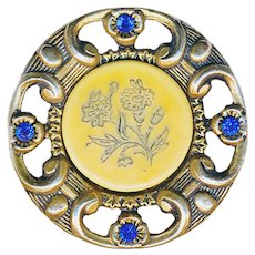 Button--Large Late 19th C. Ivoroid Celluloid in Open Work Jeweled Brass