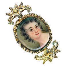 Brooch--Tiny Late Georgian Flip Portrait and Shell Cameo