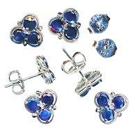 Earrings--Vintage 20th C. Blue Sapphires in White 14 Karat Gold--Posts