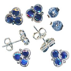Earrings--Vintage 20th C. Blue Sapphires in White 14 Karat Gold--Posts