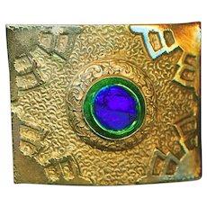 Brooch--Large Early 20th Jugendstil Peacock Eye Glass Jewel in Brass