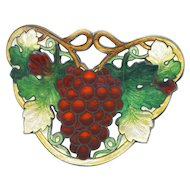 Brooch--Very Large Vintage Basse Taille Champleve Enamel Red Merlot Grapes on Sterling Silver