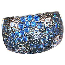 Ring--Vintage 1990 Sapphire and Diamond Starry Night Wide Band in White Gold
