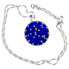 Necklace--Vintage Transparent Cobalt Blue Glass with Moon & Stars on Sterling Chain
