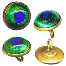 Button--ONE Late 19th C. Small Peacock Eye Glass Waistcoat Jewel