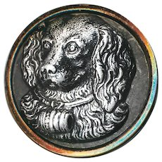 Button--Large Late 19th C. St. Bernard Dog in Japanned White Metal