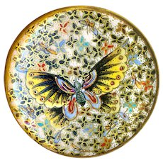 Button--Large Late 19th C. Japanese Satsuma Pottery Thousand Butterflies