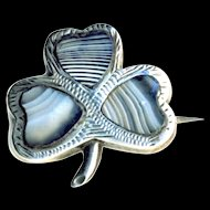 Pin--Small Mid-19th C. Scottish Montrose Agate Lucky Shamrock in 08.00 Silver