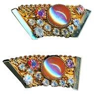Earrings--Vintage 1960s Hobe Saphiret Glass and Aurora Borealis Rhinestones on Card