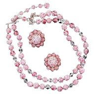 Necklace & Earrings--Vintage 1950s Strawberry Sugar Beads Glass Choker Set