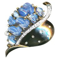 Fur Pin--Vintage Double-prong Crown Trifari Fruit & Leaf with Diamond Dust Stones