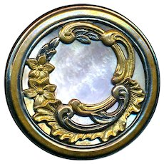 Button--Fine Large Late 19th C. Rococo Parcel-gilt Overlay Pearl Paris Back