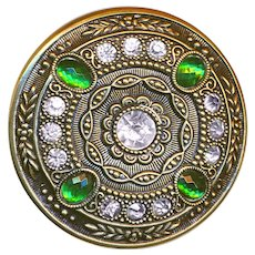 Button--Large Late 19th or Early 20th C. Faux Emeralds & Diamonds in Brass