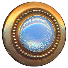 Button--Large Late 19th or Early 20th C. Opalescent Glass In Brass