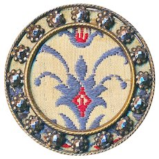 Button--Uncommon 19th C. Tapestry Fleur de Lis in Brass and Cut Steels--Medium