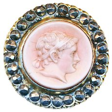 Button--Scarce Early 19th C. Tassie Cameo in Brass and Cut Steels
