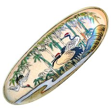 Brooch--Late 19th C. Oval Japanese Satsuma Red-headed Cranes by Stream in Brass