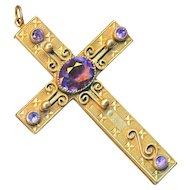 Pendant--Large Very Fine Vintage Hobe Jeweled Cross--Faux Amethyst