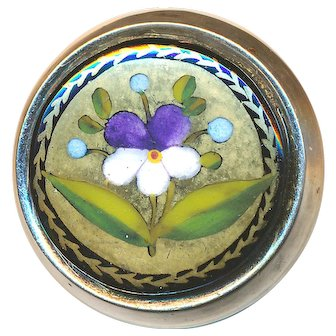 Brooch--19th C. Hand Painted Enamel Pansy or Violet Set in Modern Sterling Silver