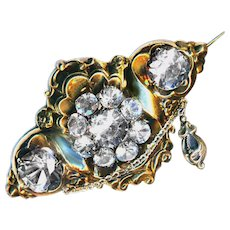 Brooch--Large Mid-19th C. 9 Karat Gold & Brilliant Pastes Corsage