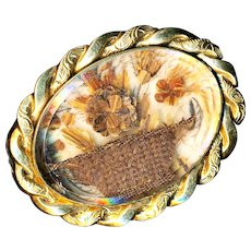 Brooch--Late 19th C. Hair Palette Work Flower Basket Under Glass in Gold-plated Brass