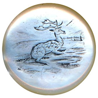 Button--Large 18th C. Georgian Engraved Pearl Sleepy Stag