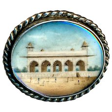 Button--Late 19th C. India Temple Diwan-i-Khas Painted under Glass in Silver Oval