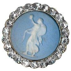 Button--Mid-19th C. Classical Figure Jasper Ware in Silver with Paste Border
