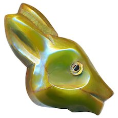 Button--Large Vintage Bakelite Hand Carved Green Deer with Glass Eye
