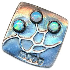 Button--Rare Small Jugenstil Theodor Fahrner Opal and Sterling Silver Square