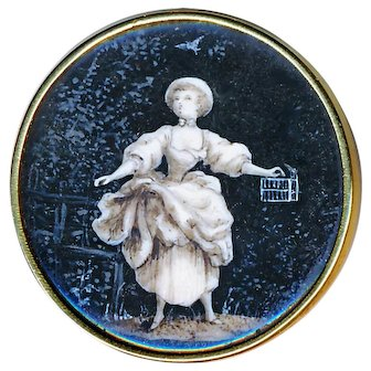 Button--Unique Georgian Period En Grisaille Painting Under Glass in Tested Gold