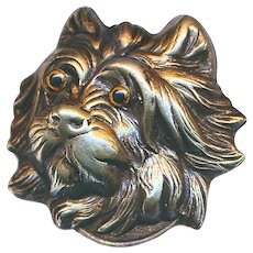 Button--Late 19th C. Figural Brass Terrier with Glass Eyes