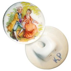 Button--Early 20th C. KP Hand Painted Porcelain Aristocrats--Medium
