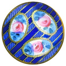 Button--Elegant Late 19th C. Hand Painted Enamel with Rose Reserves