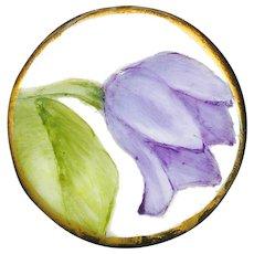 Button--Vintage Hand Painted Porcelain Purple Tulip