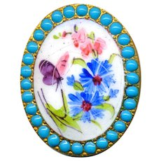 Button--Large Oval Hand Painted Enamel Flowers & Bug in Turquoise Pierreries