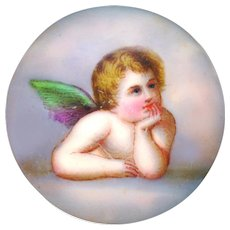 Stud--Late 19th or Early 20th C. Hand Painted Transfer Porcelain Cherub