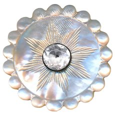 Button--18th C. Georgian Engraved 8-point Star on White Pearl with Paste Jewel