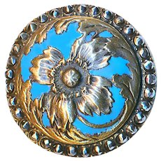 Button--Late 19th C. Art Nouveau Domed and Enameled Brass Flower