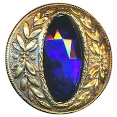 Button--Large Late 19th or Early 20th Cobalt Blue Glass Jewel in Brass