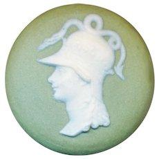 Button--19th C. Wedgwood Jasper Ware Athena Head White on Sage Green