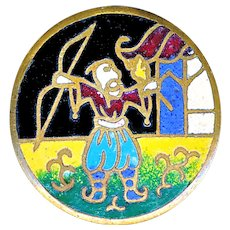 Button--Early 20th C. Champleve Enamel Chinese Archer--Medium