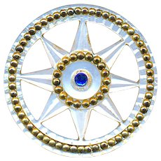 Button--Late 18th C. Ajoure Carved Pearl Star with Blue Paste & Brass Beads