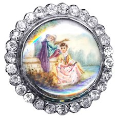 Button--Very Fine Quality 19th C. Painting Under Glass in Silver--Pastoral Lovers
