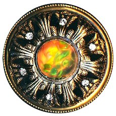 Button--Extra Large Late 19th C. Oil Spot Art Glass Jewel in Domed Gay Ninety Brass