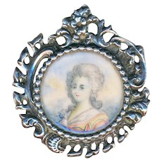 Button--Large Late 19th C. Rococo Sterling Silver Portrait Under Glass