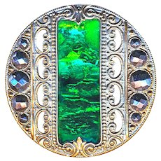 Button--Elegant Large Late 19th C. Gay Ninety Jewel--Kryptonite Emerald Lozenge