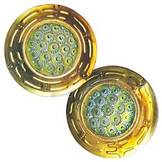 Button--One Early 20th C. Yellow-green Art Glass in Brass