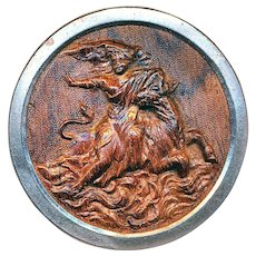 Button--Scarce Very Large Europa on Bull in Wood in White Metal