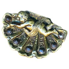 Button--Large Late 19th C. Rococo Putto on Half Shell
